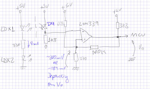 MU-01 MSX Yamaha mouse - quadrature encoder sensor schematic
