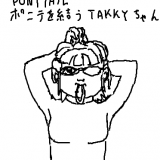 takky-chan-tying-her-ponytail