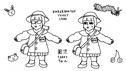 Unexpectedly adorable young TAKKY chan in her kindergarten uniform, with and without the goggles. Unrelated to MSX.