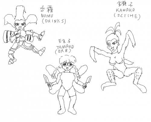 Roughs of the Hypnotic City (suspended MSX project) characters Nomu, Tamako and Kamako. Nomu has certain leap from the original because I didn't look at the original.